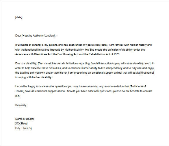 doctor letter template 17 free sample example format With sample medical letter for service dog