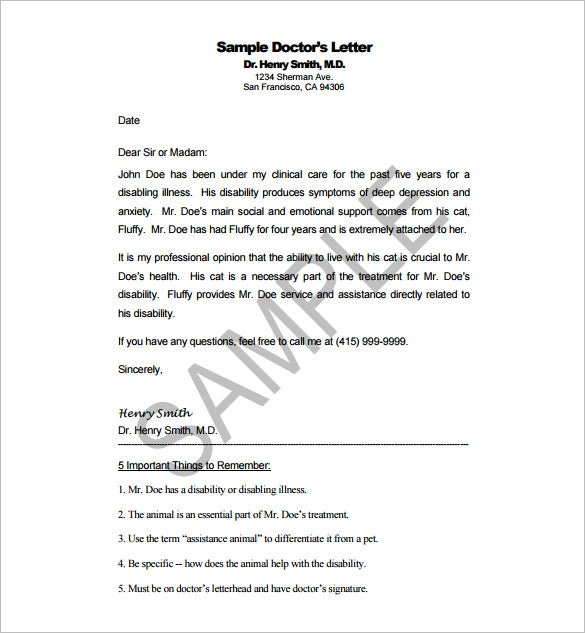 Doctor Letter Template   Free Sample Example Format Download