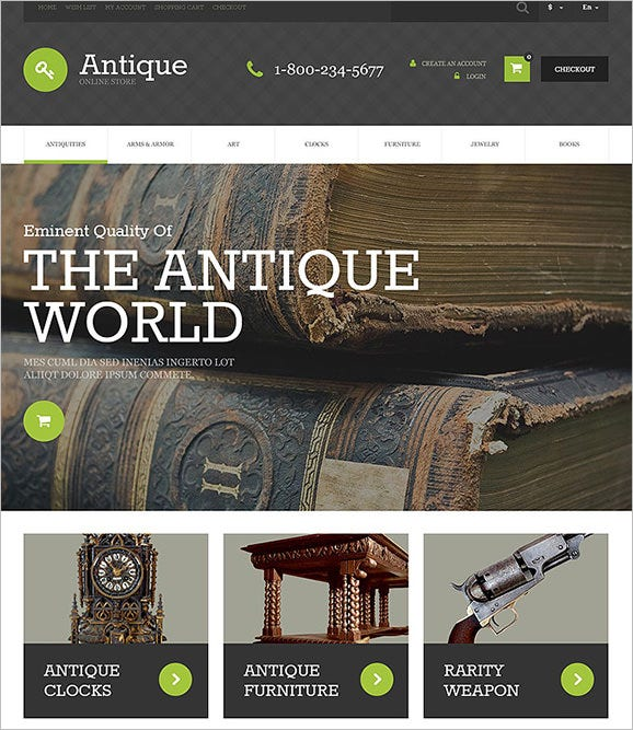 premium antique opencart theme