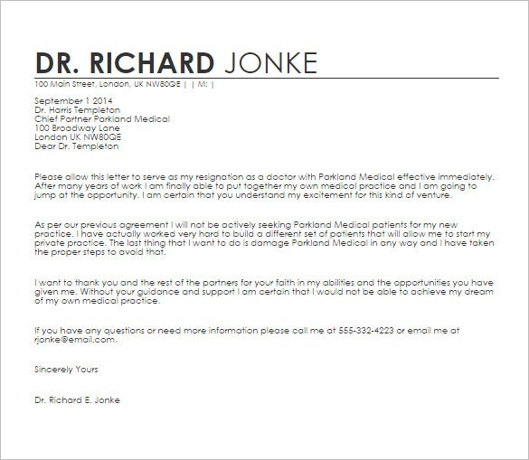 17 doctor letter templates pdf doc free premium templates doctors resignation letter sample template spiritdancerdesigns Image collections