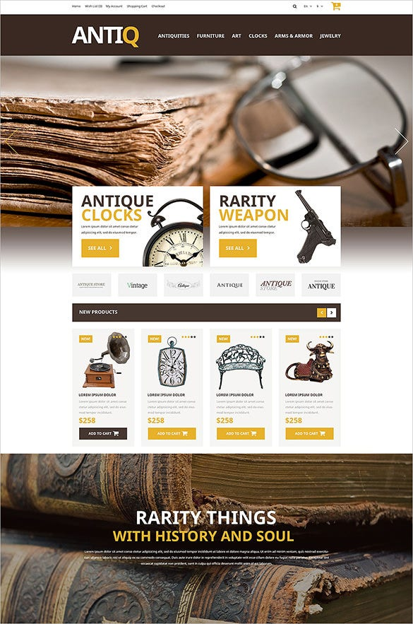 beautiful antique opencart template
