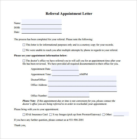 doctors appointment letter free pdf format download