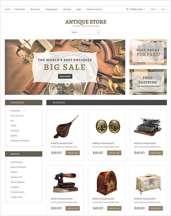 online antique opencart template