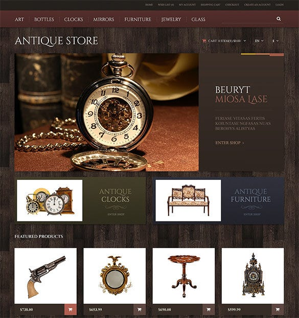 pretty antique opencart theme