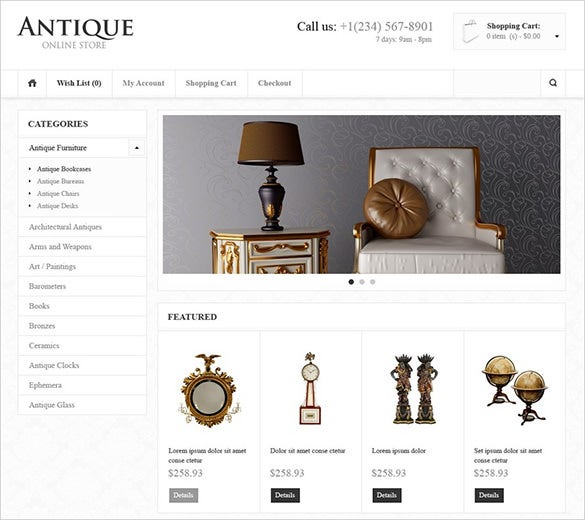 online antique store opencart theme