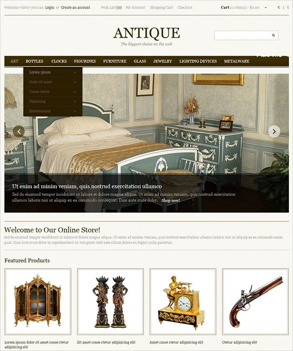 luxurious antique opencart template
