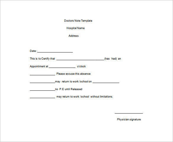 Doctor Note Templates For Work   Free Sample Example Format