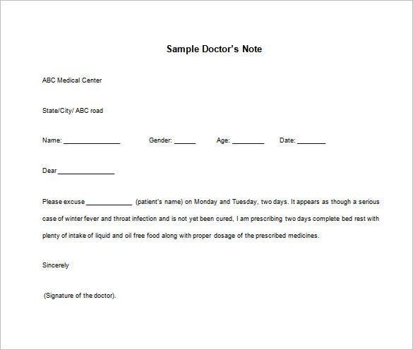 Doctor note templates for work 8 free sample example for Sick note template for school