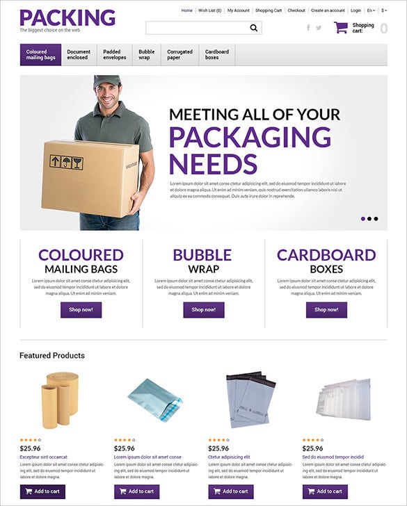 packing industrial opencart template