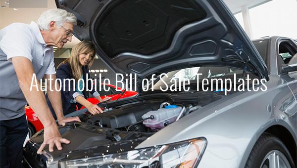 automobile bill of sale templates