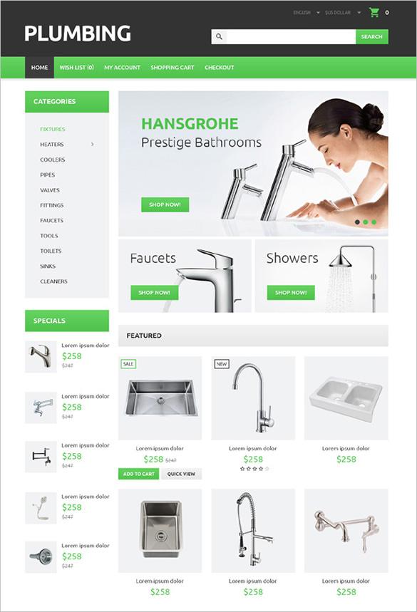 plumbing maintenance opencart theme
