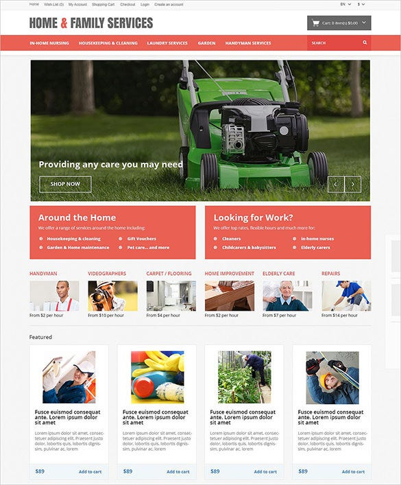 home family maintenance opencart template