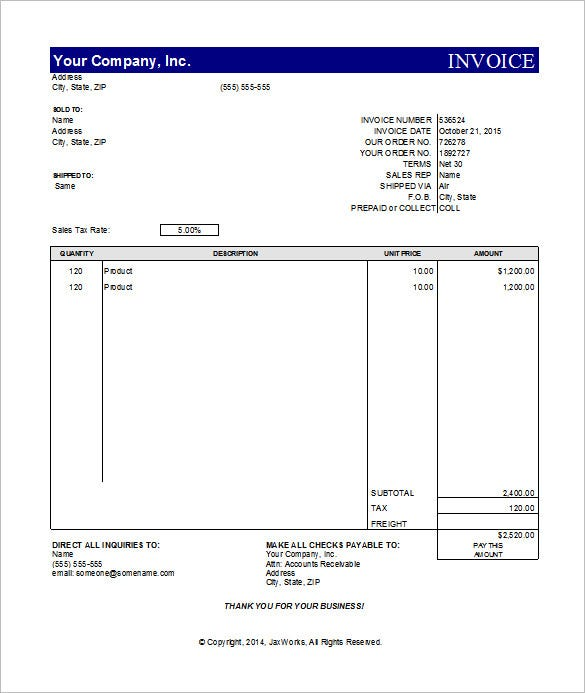 Simple Invoice Template Excel  Sample Invoice Excel