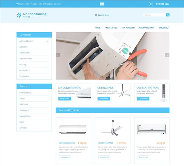 Simple Air Conditioners Maintenance Service Opencart Template