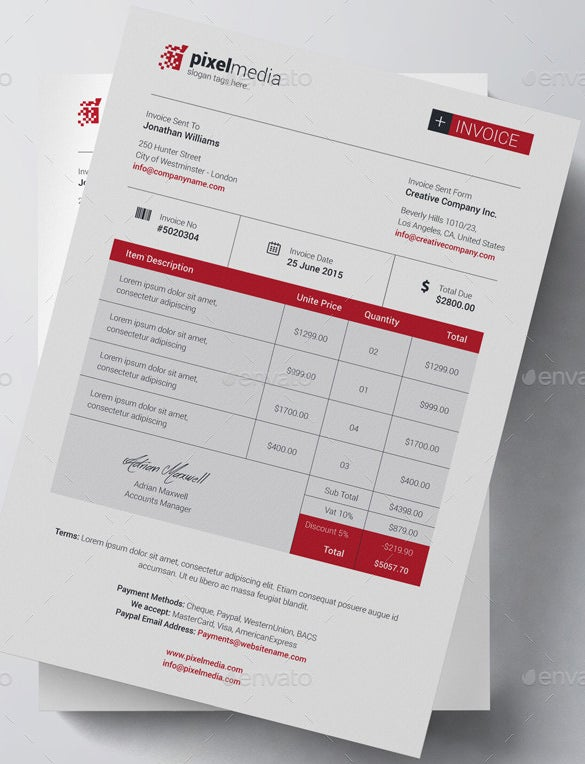 business bill of sale invoice template