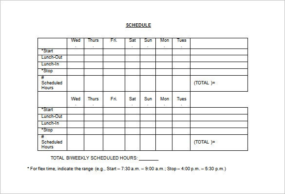 alternate employee work schedule template word format