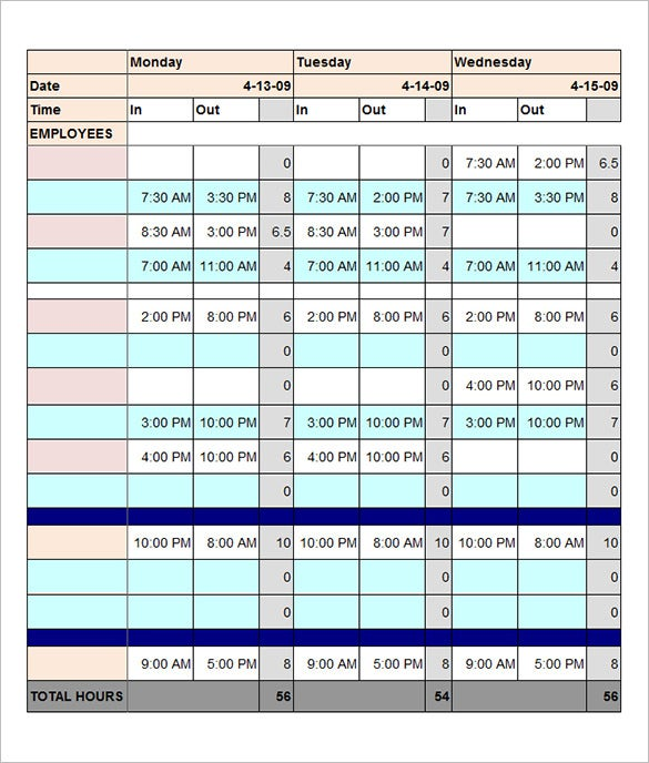 free download total employee work schedule template