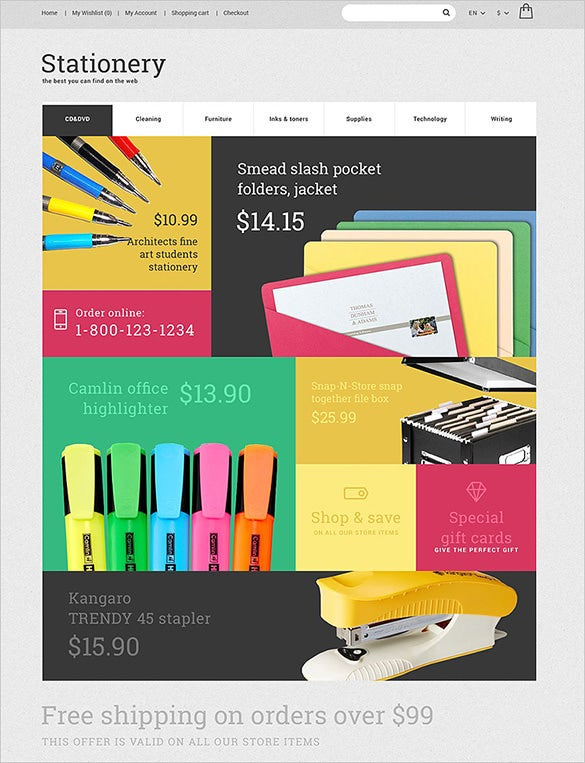 colorful stationery opencart theme