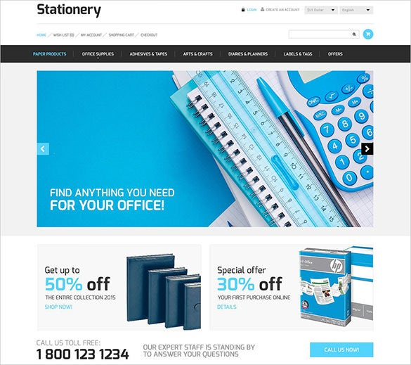 beautiful stationery opencart template