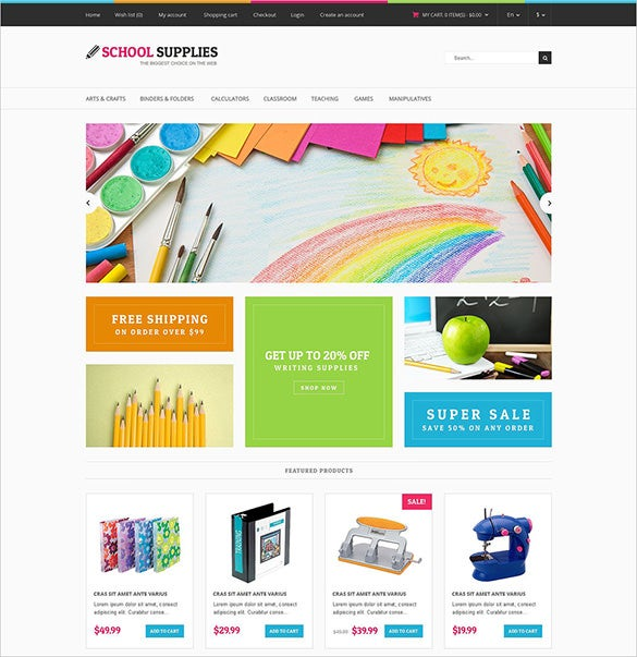 school stationery opencart theme