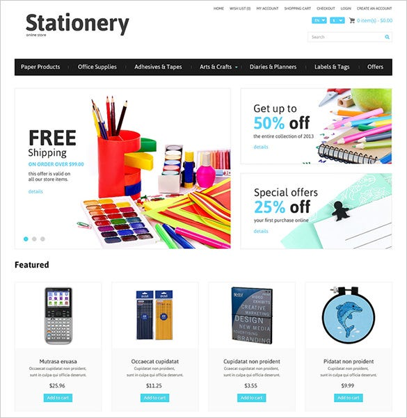 online stationery opencart template