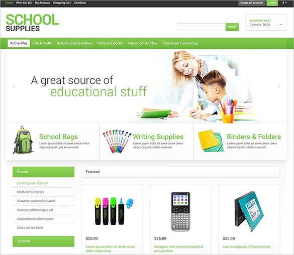 school supplies stationery opencart theme