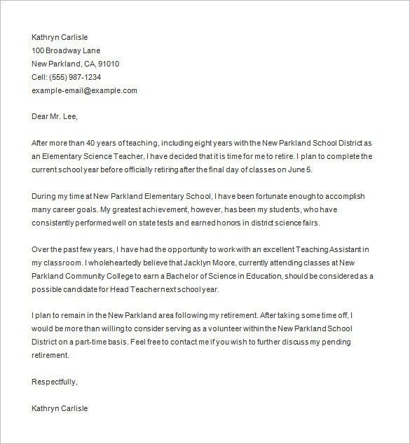 microsoft word teacher retirement letter template - Free Cover Letter Template Microsoft Word