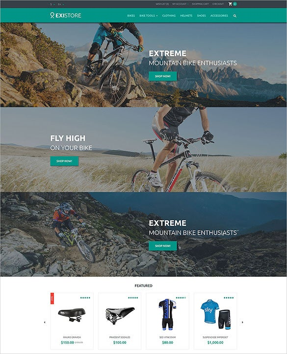 bike shop opencart theme