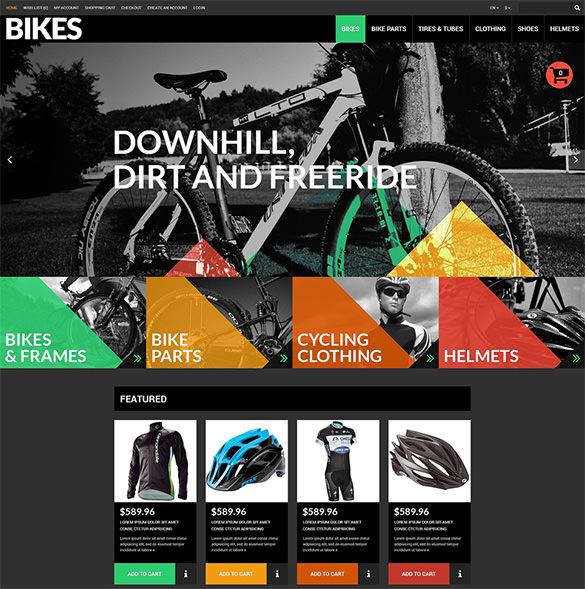 premium bike shop opencart template