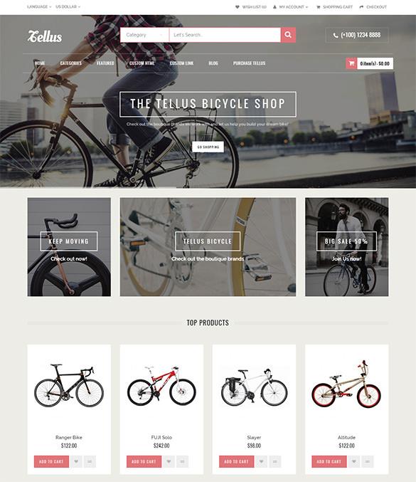 bicycle bike shop opencart template
