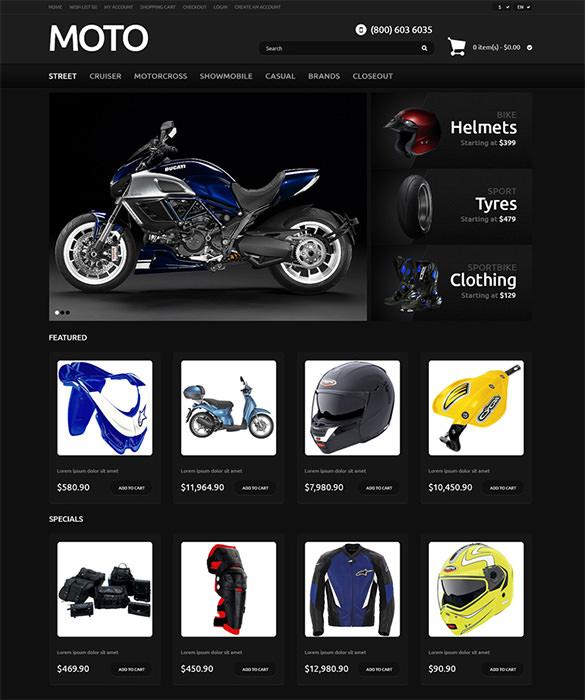 online moto bike store opencart template