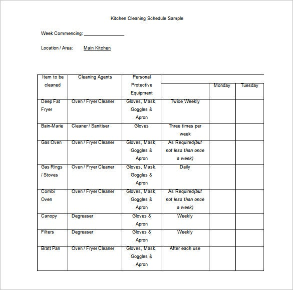 free download kitchen cleaning schedule sample word format