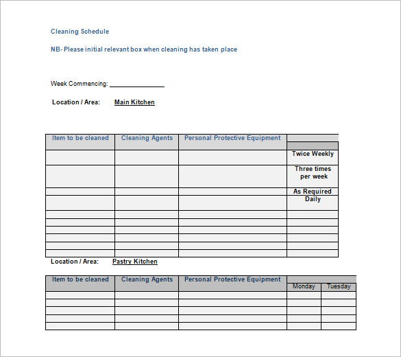 Cleaning Schedule Template – 10+ Free Sample, Example Format