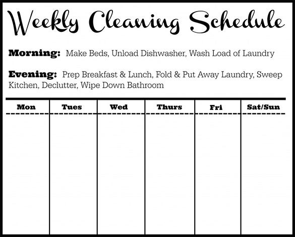 sample weekly hotel cleaning schedule template download