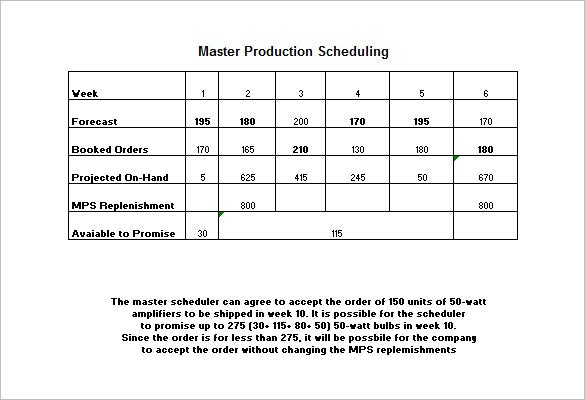 master production schedule template free download example
