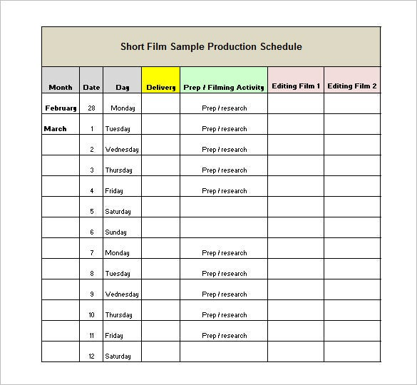 Production Schedule Template   Free Sample Example Format