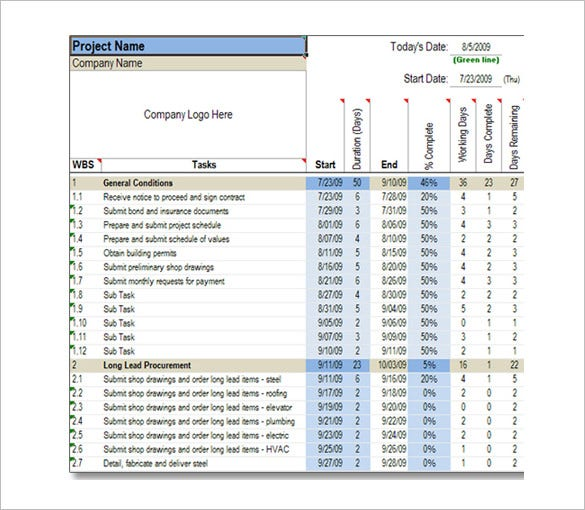 Construction Schedule Template   Free Sample Example Format