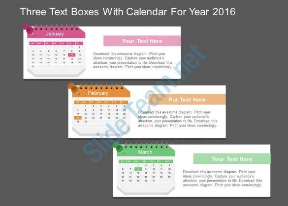 flat design powerpoint calendar template