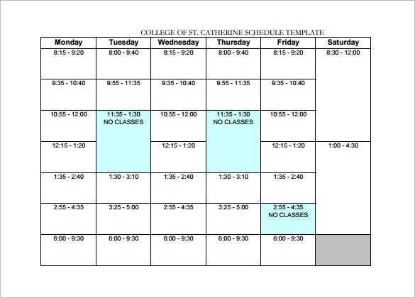 College Schedule Template   Free Sample Example Format Download