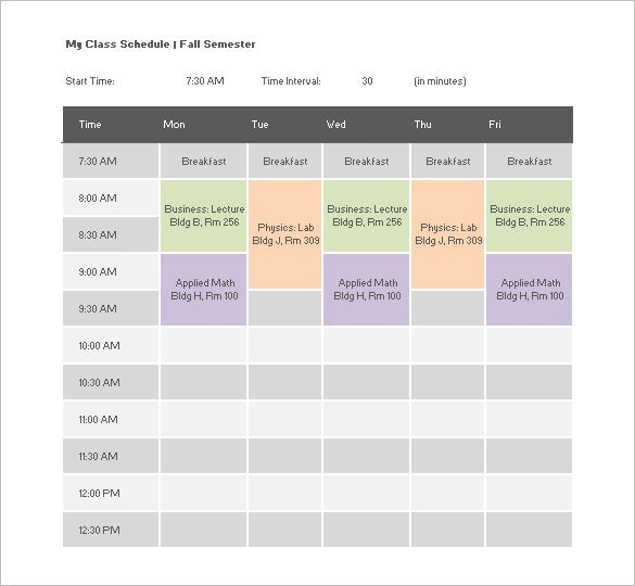 College Schedule Template – 8+ Free Sample, Example Format Download ...