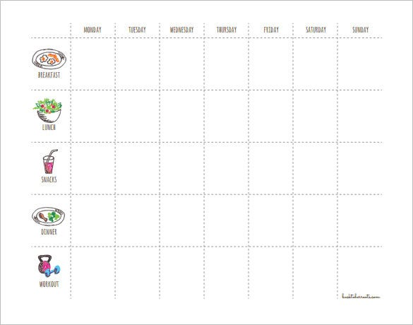 sample weekly workout menu schedue template pdf format