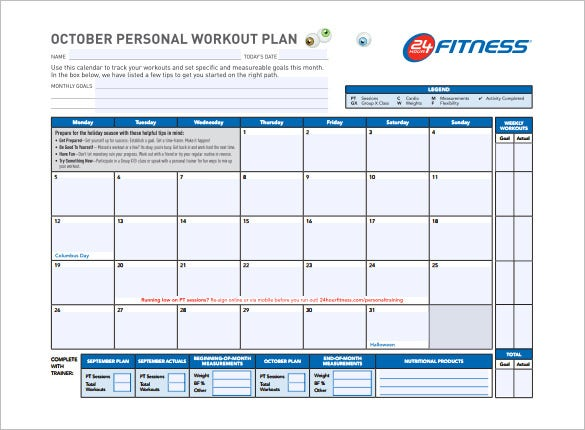Workout Calendar Template Excel : Workout schedule template free sample example format