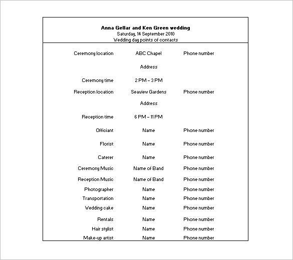 Wedding Schedule Templates  Free Sample Example Format