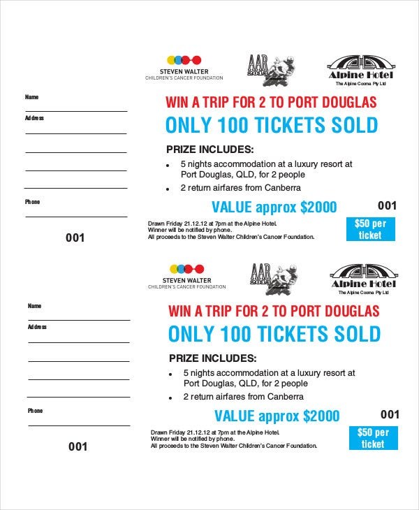 Printable raffle ticket template 18 free word excel for Sample of raffle tickets templates
