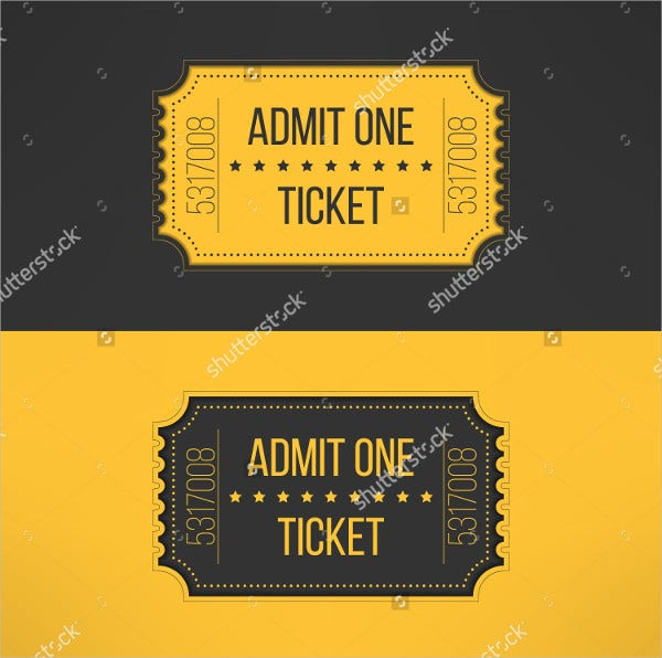 ruffle ticket template in vintage style
