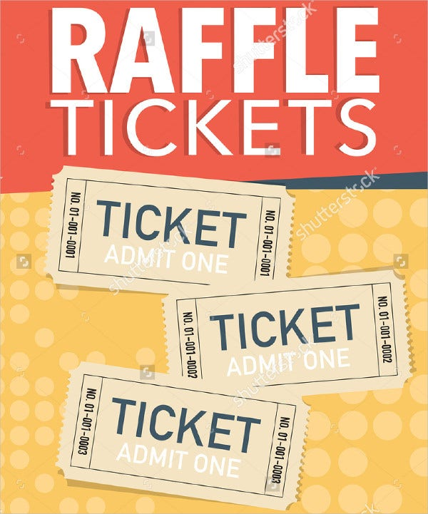Vector Raffle Ticket Poster Template  Free Printable Ticket Templates