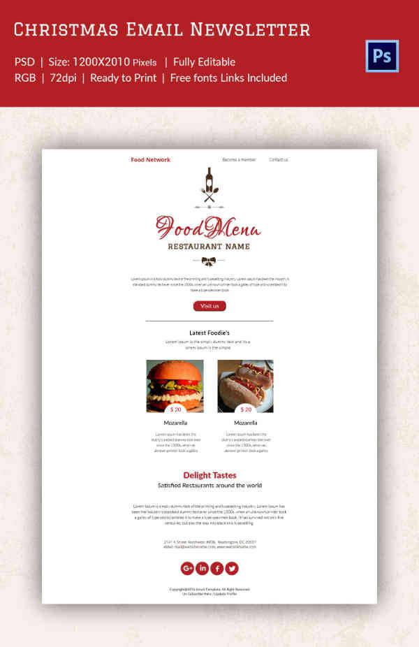 Restaurant Delight Christmas Newsletter Template