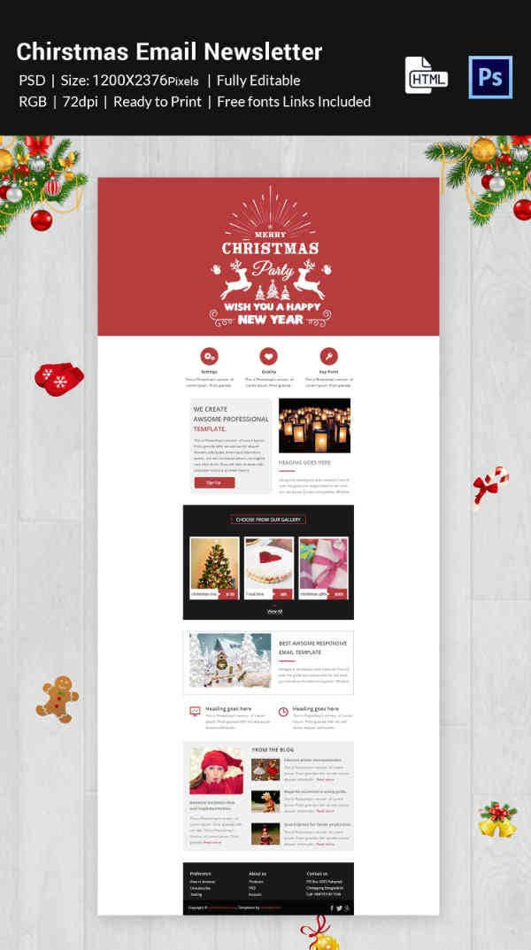 Merry Christmas Email Newsletter Template