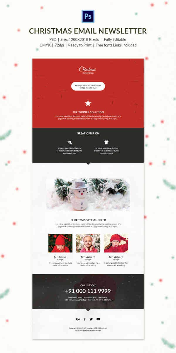 Christmas Email Newsletter Templates Free PSD EPS AI HTML - Special offer email template