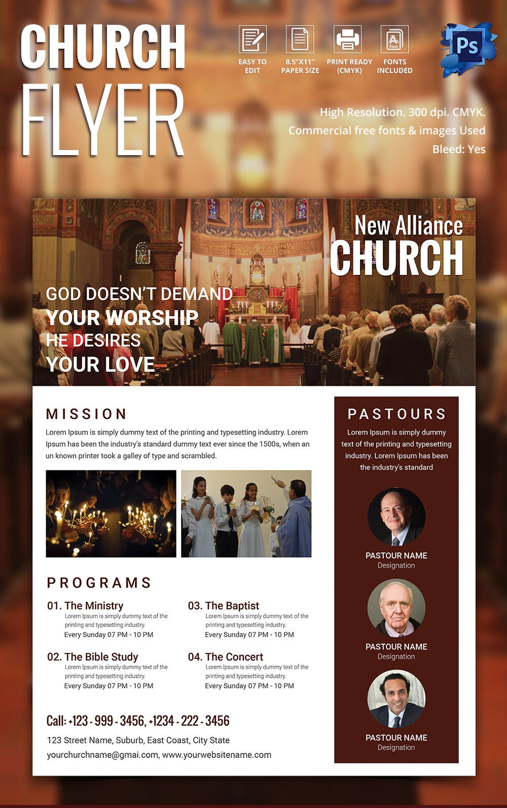 Church flyers 26 free psd ai vector eps format for Religious flyers template free